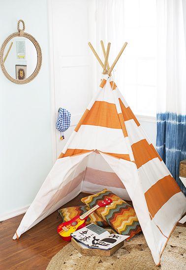 A Totally Rad Kid's Room Makeover // boys room, teepee
