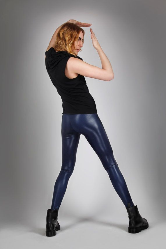 d9ccb82f3b82dc Men's leggings made from high quality spandex in navy blue metallic. The  fabric stretches four ways, which provides ultimate fit and comfort.