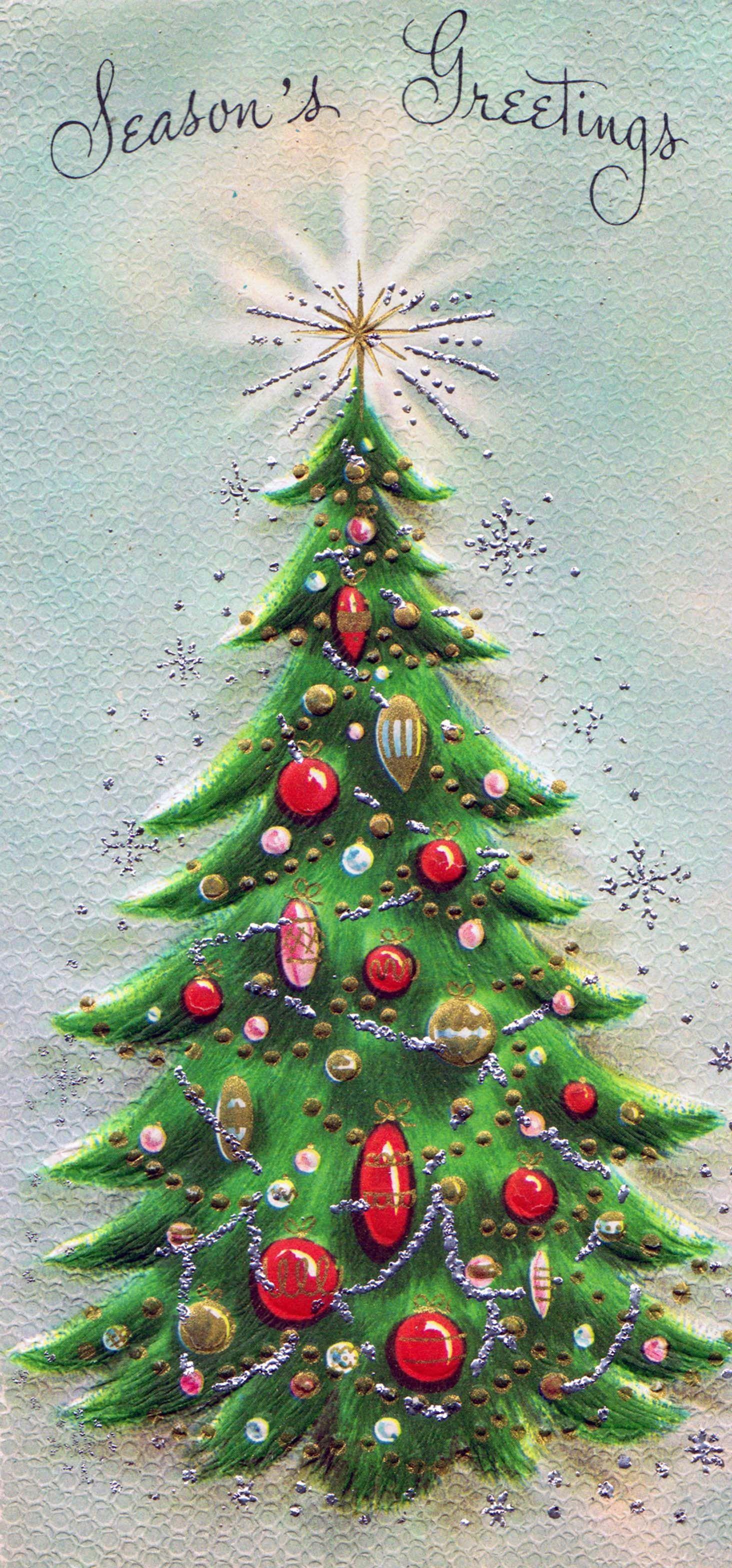 I love this tree! Vintage christmas cards, Vintage