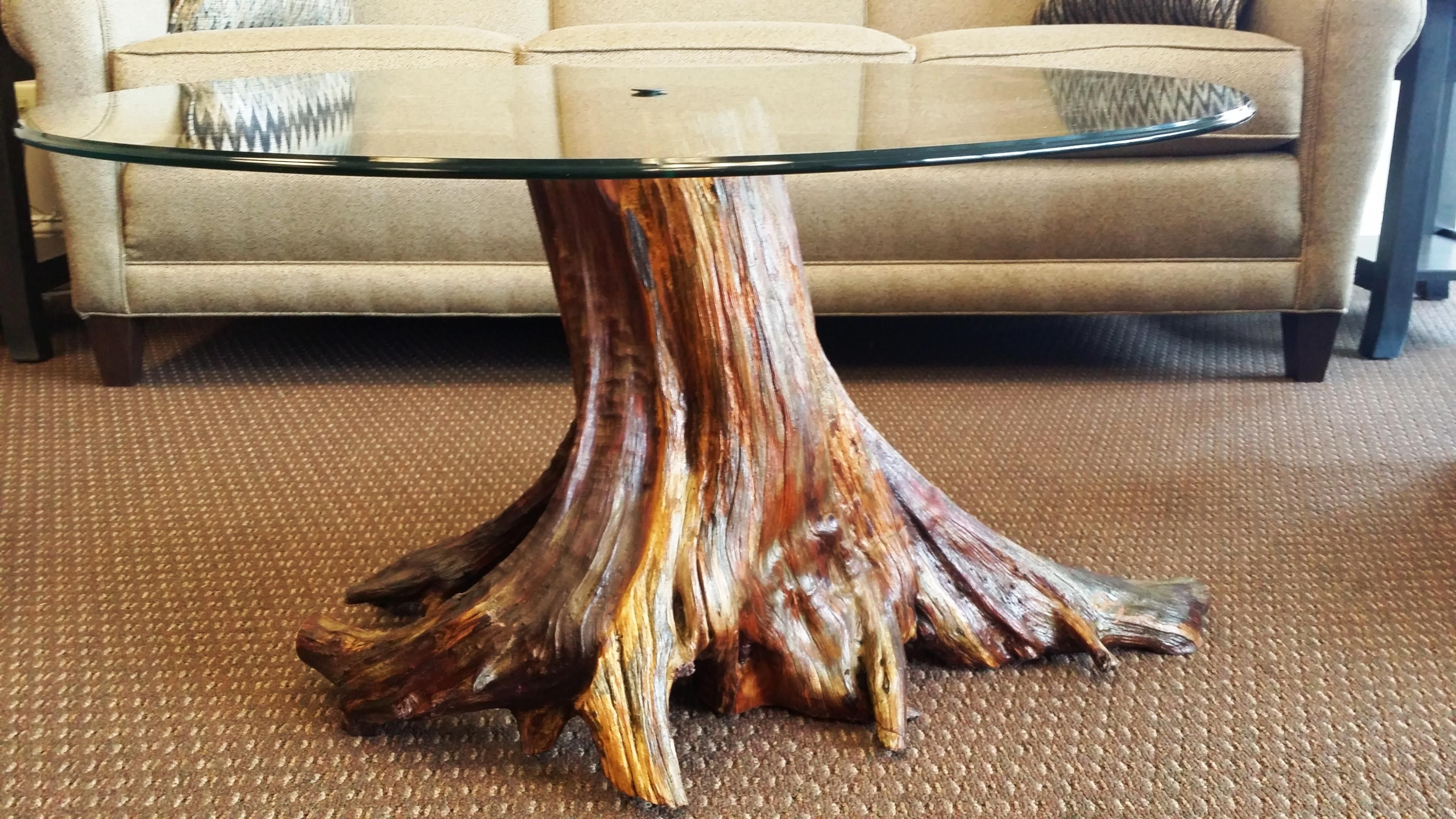 Tree Trunk Coffee Table With Glass Top Moveis De Madeira Rustica Raizes De Arvores Decoracao De Casa Rustica [ 2276 x 4045 Pixel ]