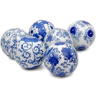 Decorative Balls Australia Blue And White Decorative 3Inch Porcelain Ball Set Of 6 China