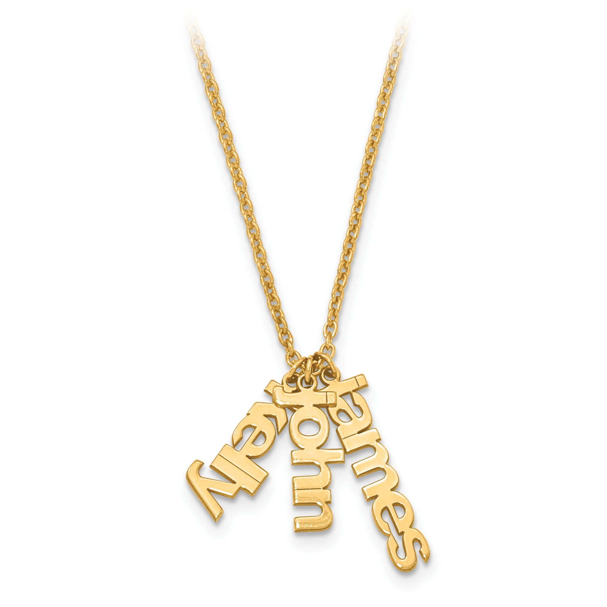 Personalized Satin Finish Multiple Name Charm Pendant Necklace Dainty Gold Necklace Gold Bar Necklace 14k Gold Necklace