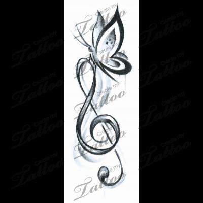 Marketplace Tattoo Butterfly Music #16023   CreateMyTattoo.com