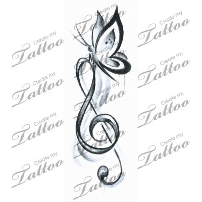 afe23dab3 Marketplace Tattoo Butterfly Music #16023 | CreateMyTattoo.com ...