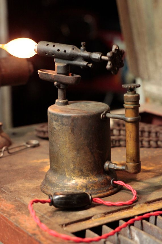 Unique repurposed antique blow torch lamp by eclecticelectrics