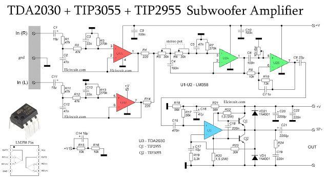 Subwoofer Amplifier using TDA2030 + TIP3055 TIP2955 | Diy ...