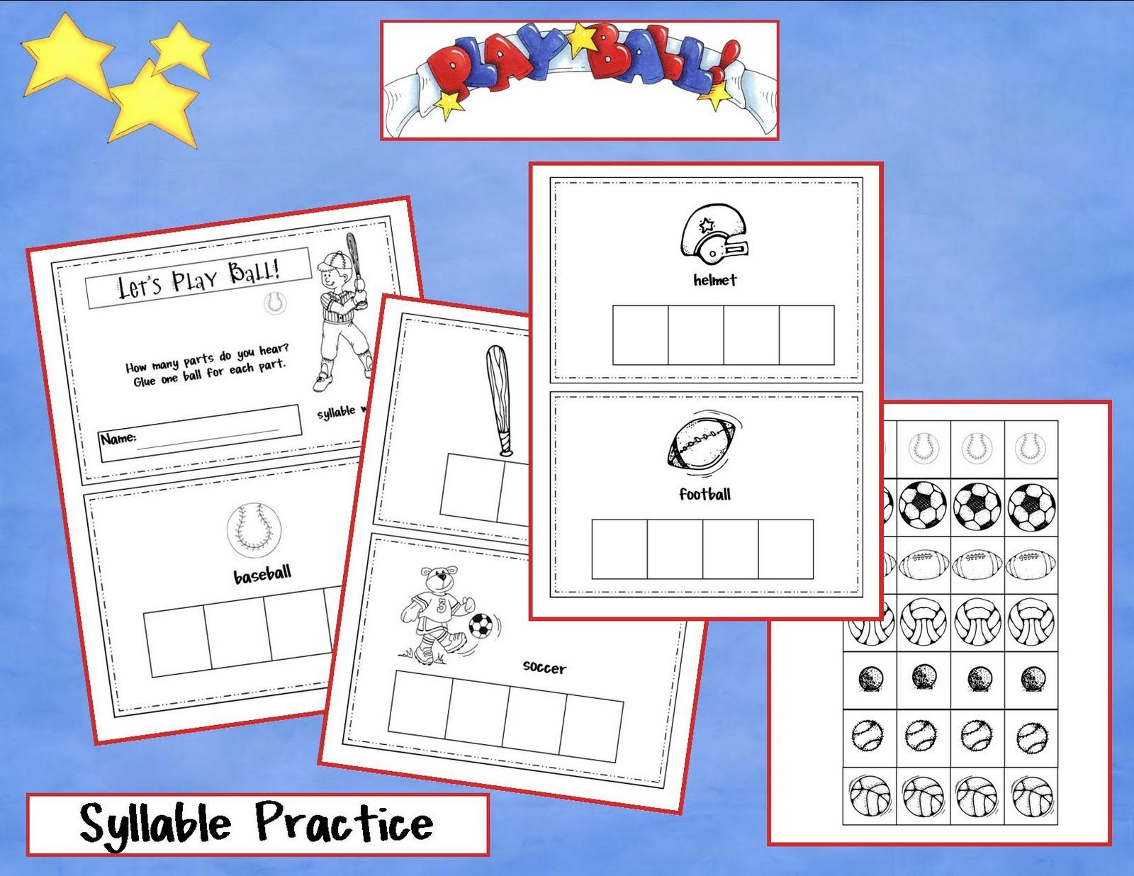 Kindergarten Crayons It S Time For Baseball Practice Counting Syllables