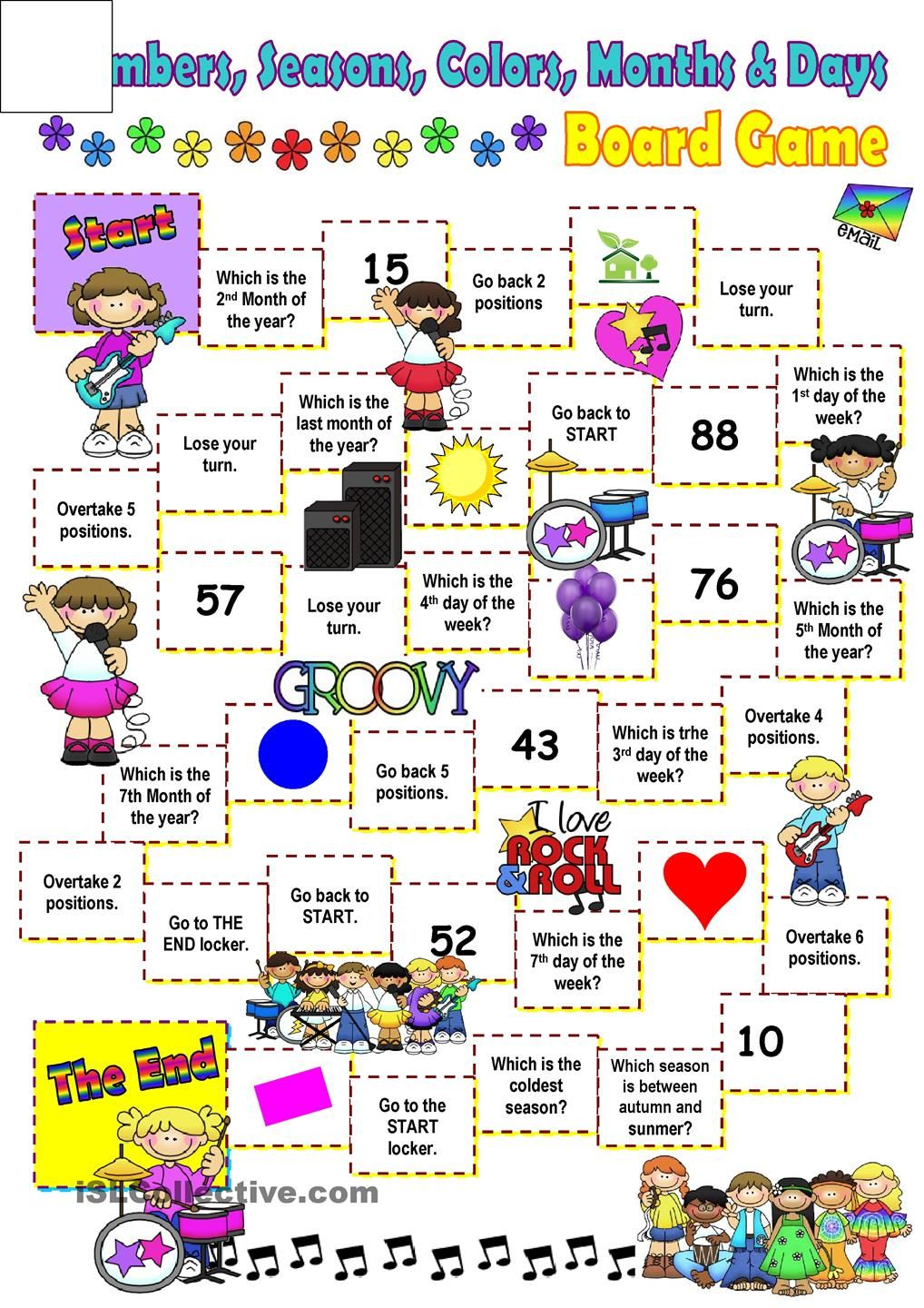 Months Days Colors And Seasons Board Game Worksheet
