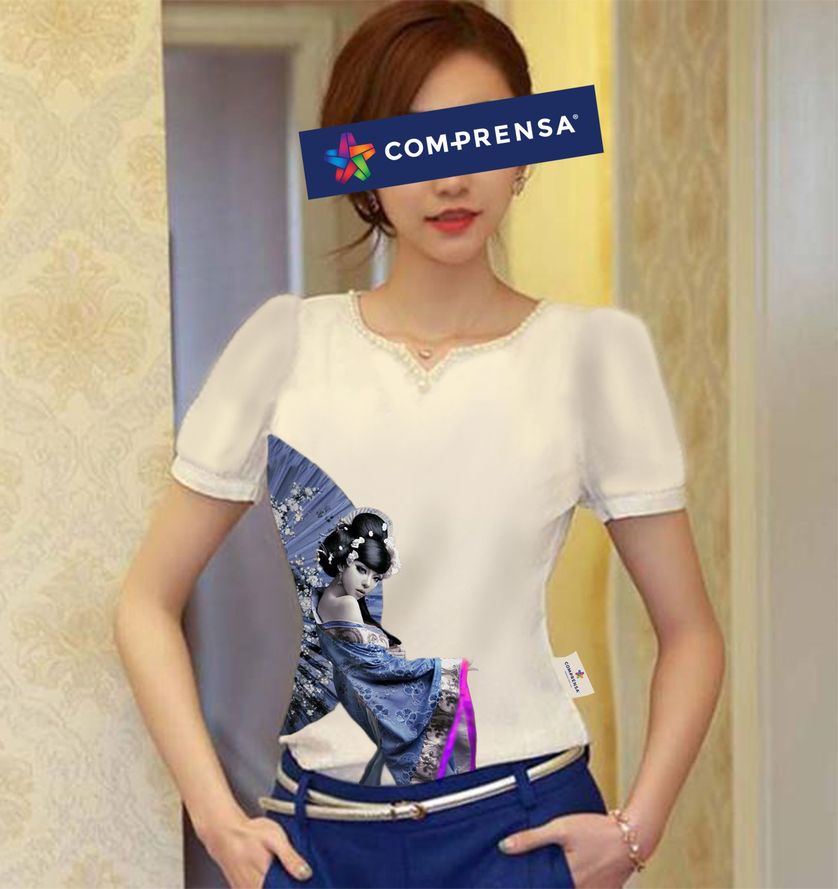 """A t-shirt, short sleeves with a print """"Geisha"""", inspired in the Orient.  #comprensa #model #fashion #manufacturer #design #company #textile #portugal #jersey #fleece #cotton #bio #sublimation #screenprinting #digitalprint #laser #photoprint"""