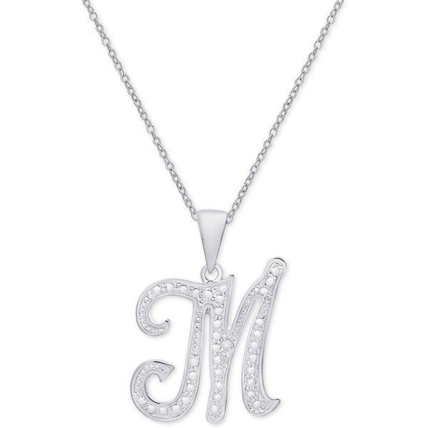 289f37b552 Diamond Accent Script Initial Pendant Necklace in Silver Plate ( 60) ❤  liked on Polyvore featuring jewelry