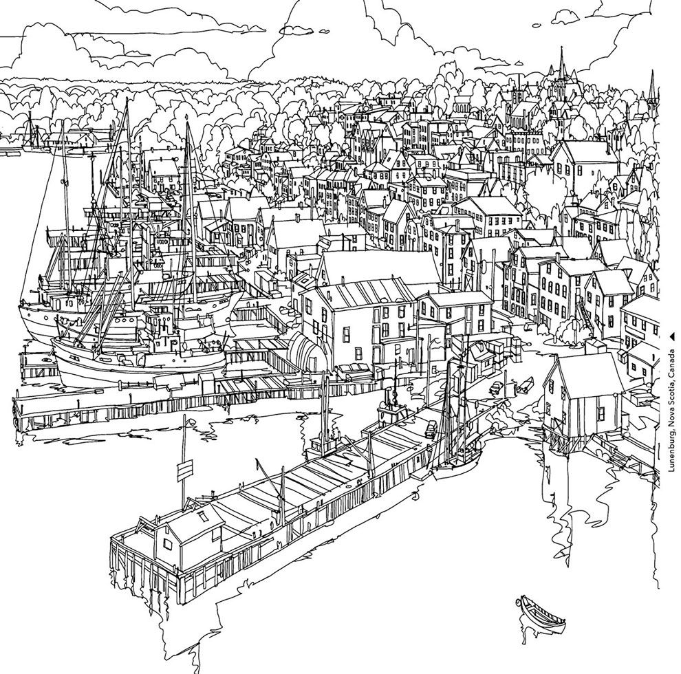 Book Preview Fantastic Cities By Steve Mcdonald Fantastic Cities Coloring Book Coloring Books Forest Coloring Book
