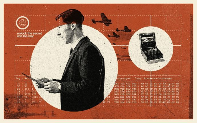 "Anthony Lane reviews ""The Imitation Game,"" starring Benedict Cumberbatch as Alan Turing: ""Here, in short, is a film about a highly intelligent homosexual mathematician that shows no homosexual behavior, almost no math, and a faltering faith in the intelligence of its viewers. So, what is there to tempt us? In a word, actors."" (Illustration by Concepcón Studios; Photograph: Hulton Archive / Getty [right])"