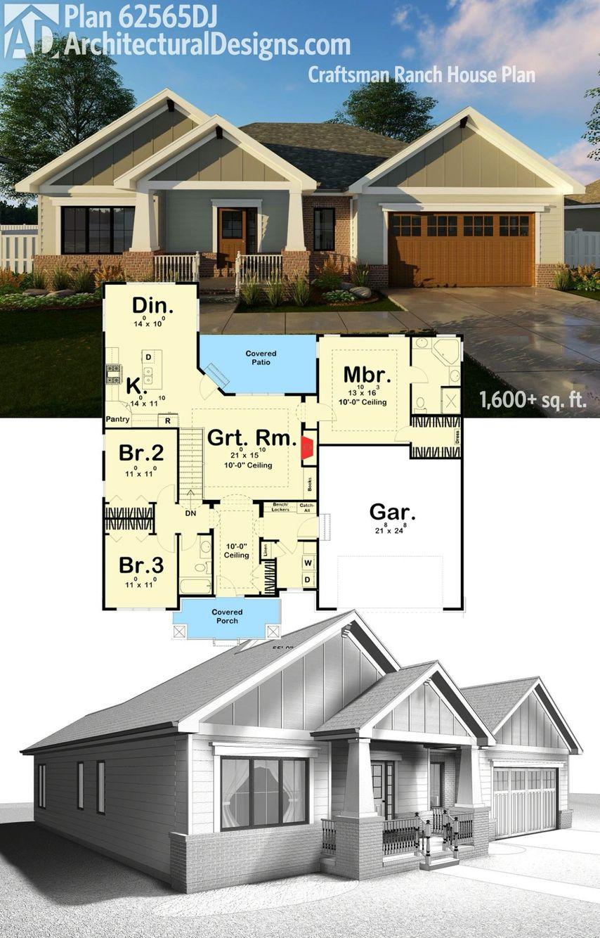 Plan 62565DJ: Craftsman Ranch House Plan | Pinterest | Architectural ...