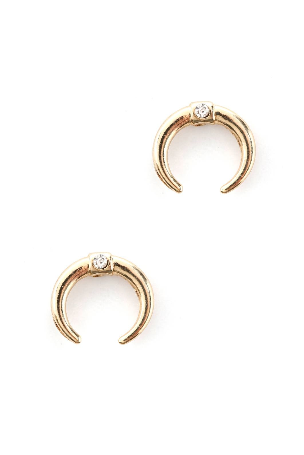 South Moon Under Curved Horn Stud Earrings