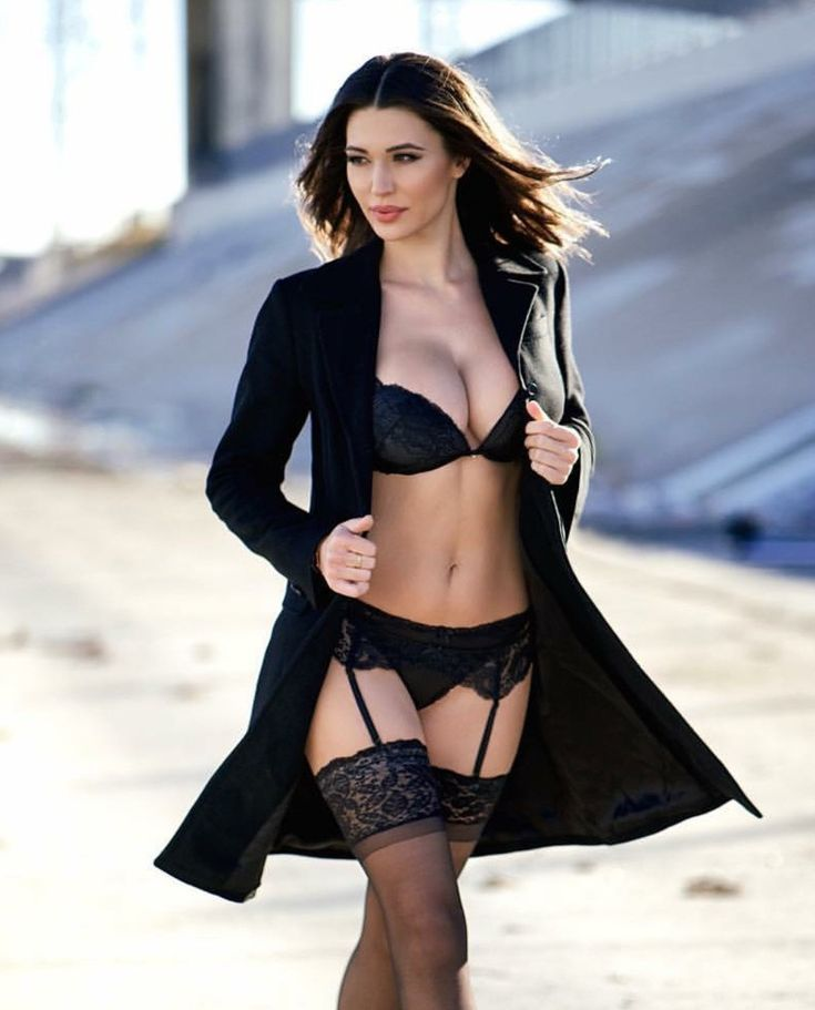 Black Lingerie, Trench Coat, Beautiful Girl  The Dirty -5136