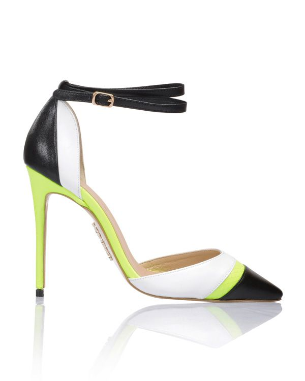 1c377edc23d1 Shoes   Santorini  Black  White with Neon Lime Pointed Toe Pumps ...