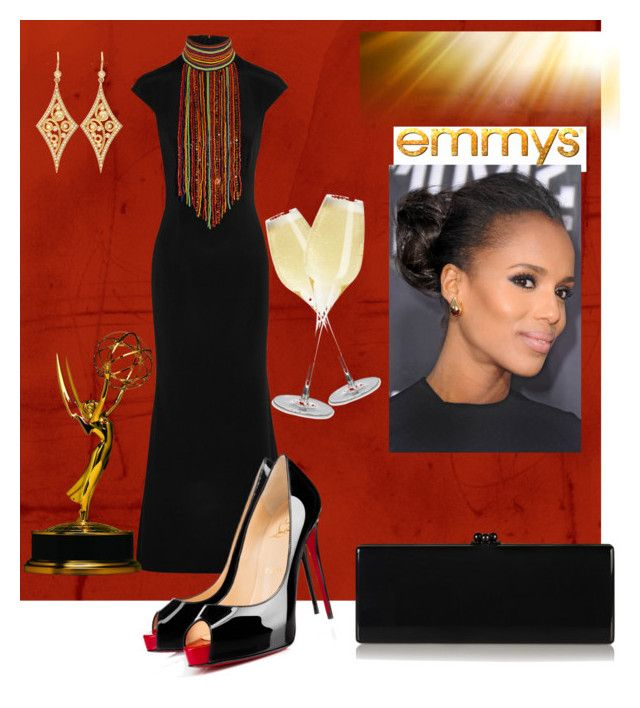 """""""Emmy Awards"""" by dawndyb ❤ liked on Polyvore featuring Tamara Mellon, Christian Louboutin, Edie Parker, Sennheiser and Annie Fensterstock"""