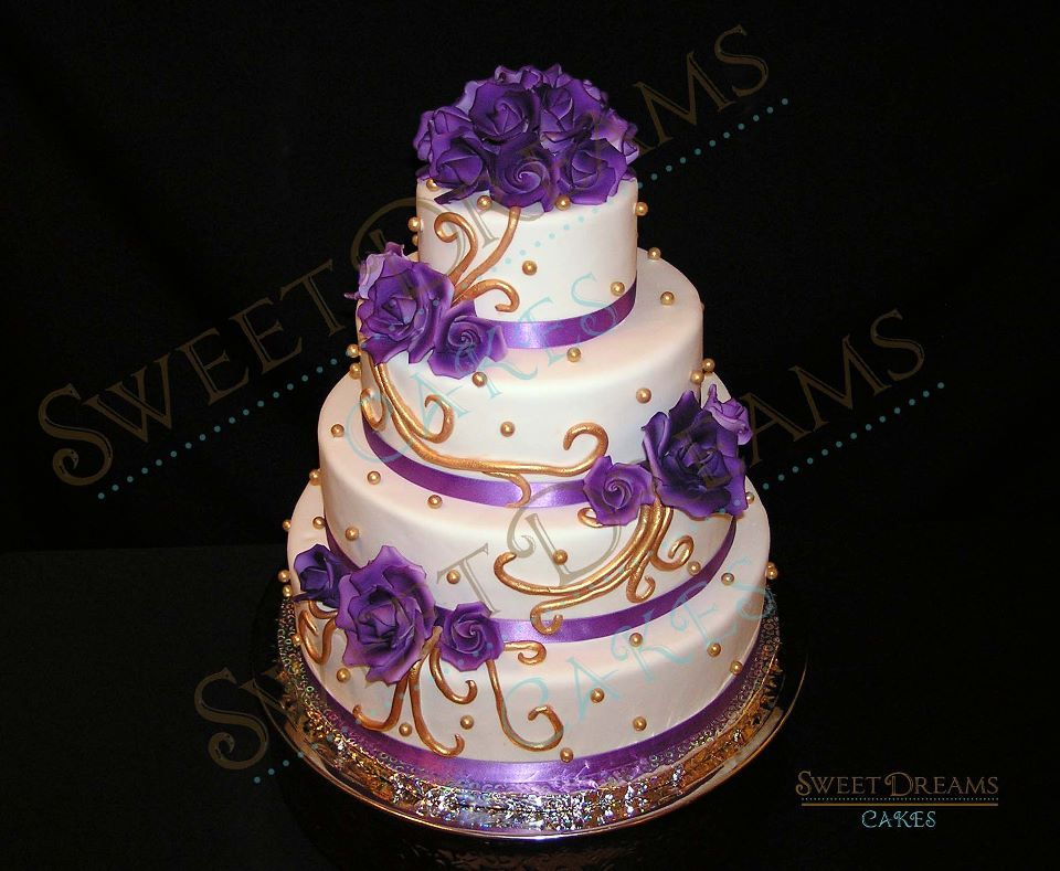 White Purple And Gold Wedding Purple Wedding Cakes White And