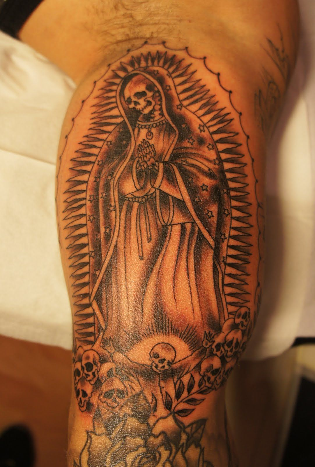 Skull Virgin Mary Tattoo Tattoo Ideas Inspiration Pinterest