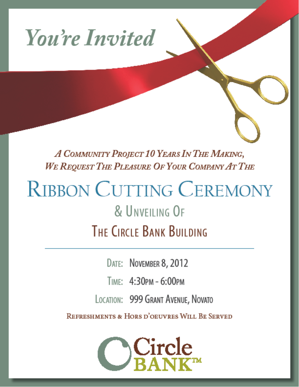 sample ribbon cutting invitations circle bank 999 grant ribbon