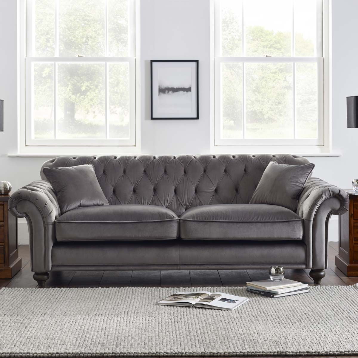 sofa at costco uk genuine leather sectional toronto bordeaux button back 4 seater grey velvet with 2 accent pillows