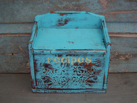 Recipe Box Wooden Turquoise Distressed $15