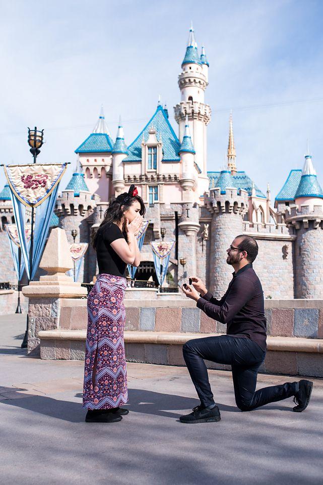 A Surprise Proposal In Front Of Sleeping Beauty Castle In Disneyland