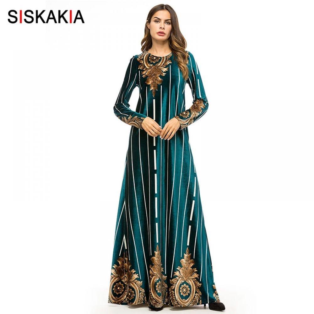0b5dbdad48991 Siskakia Women Long Dress Velvet Vintage Print Maxi Dresses Muslim Ramadan  Dress Elegant Round Neck Long Sleeve Price: 32.96 & FREE Shipping #hashtag1