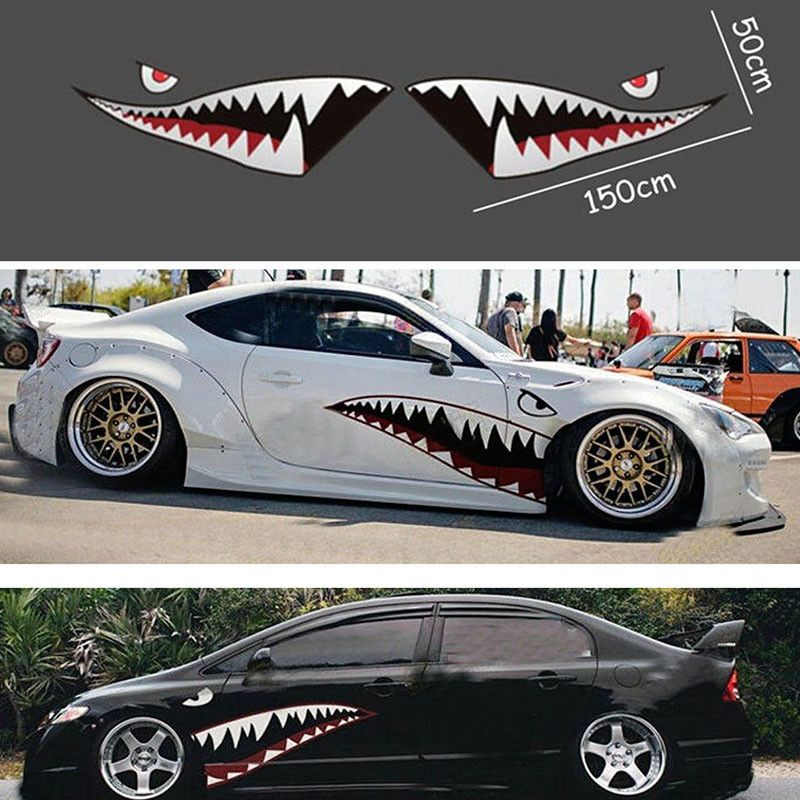 auto shark mouth teeth graphics pvc car sticker decal durable for