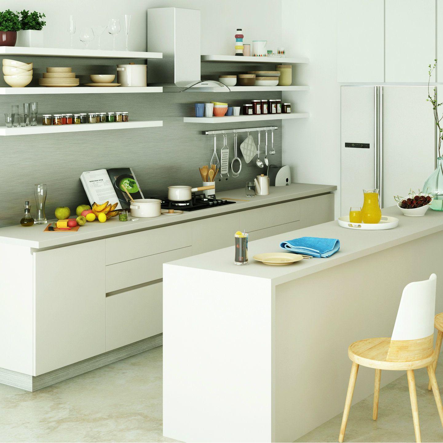 Stark White Modern Modular Kitchen Modular Kitchens Design
