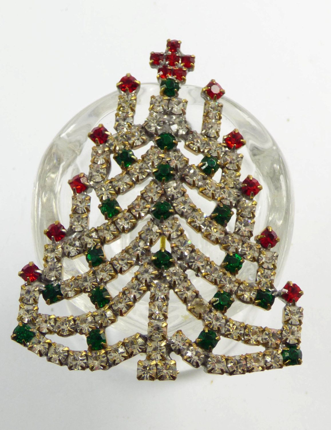Holiday Jewelry Vintage Czech Brooch Clear Rhinestone Brooch Christmas Gifts