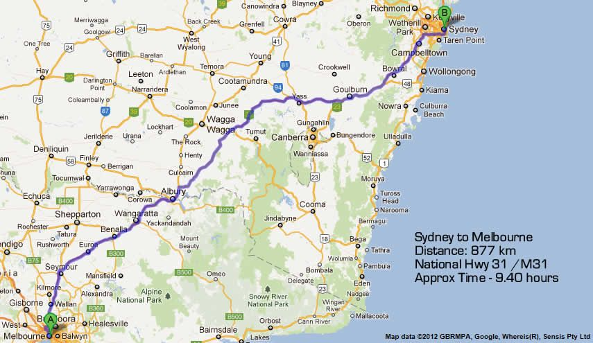 Road Map Victoria Australia.Melbourne To Sydney Road Map By Most Direct Route Total Kilometres