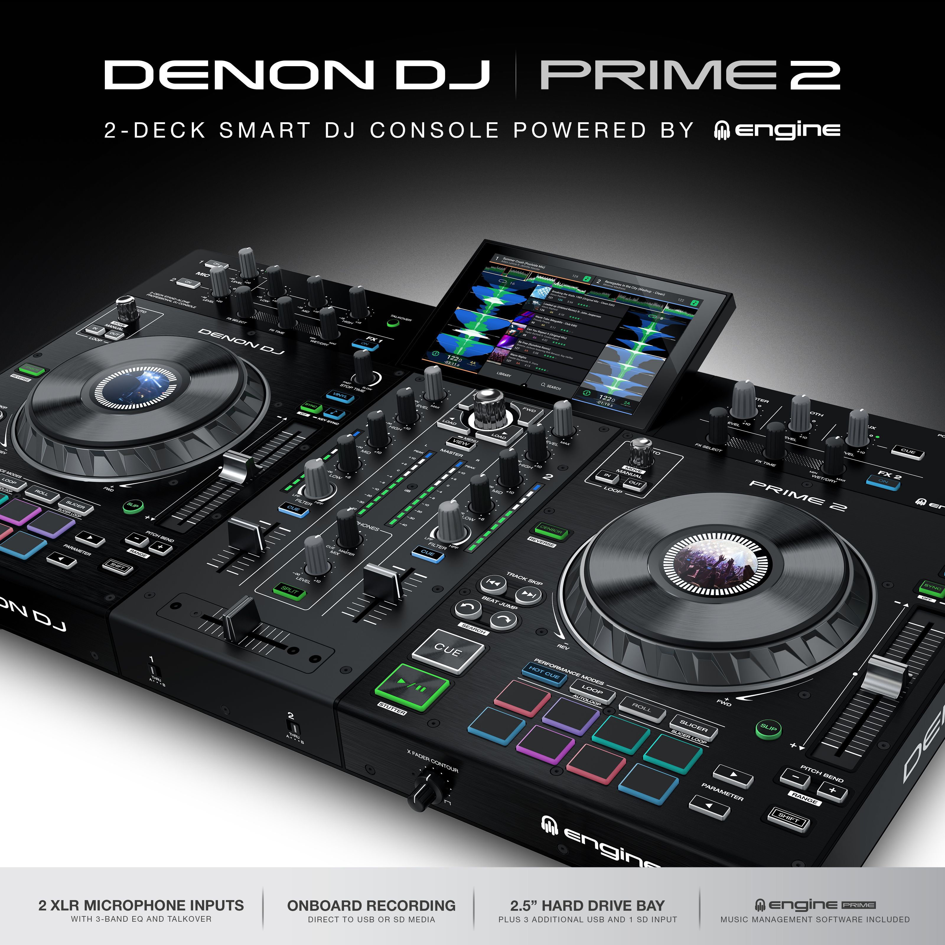 Denon Dj Prime 2 2 Deck Standalone Dj System With 7 Inch Touchscreen Dj System Pioneer Dj Dj Equipment