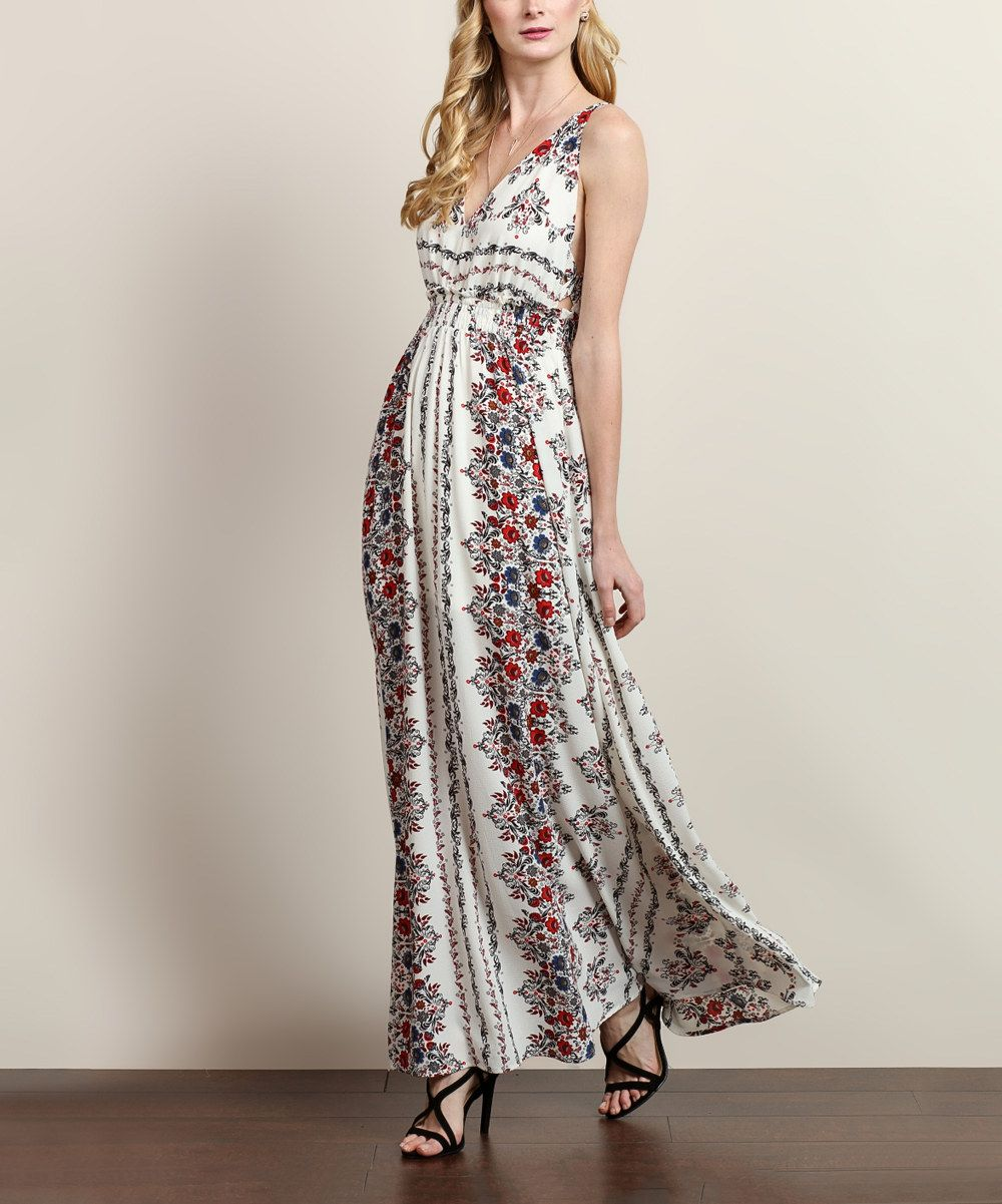 Lace v neck maxi dress  Ivory u Red Floral VNeck Maxi Dress  Dress up  CasualDressy