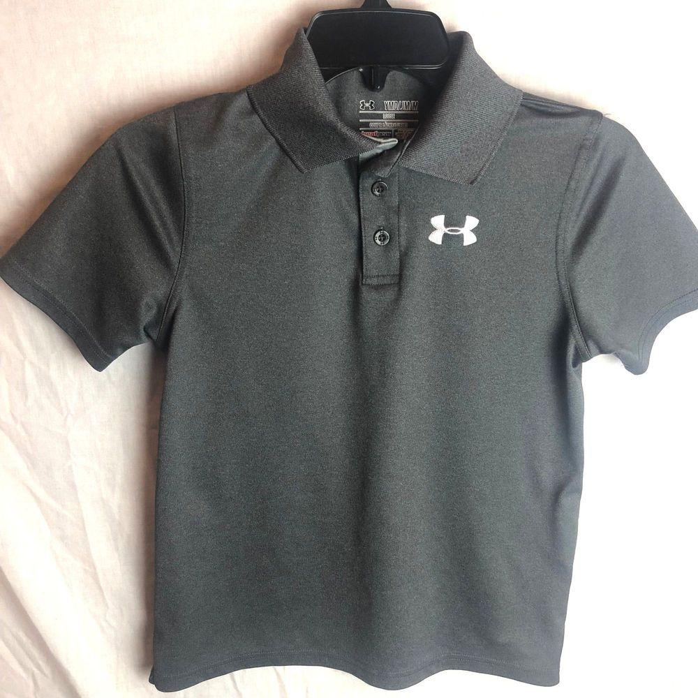 e0eb1e68 Under Armour Boys Heatgear Match Play Polo Shirt YMD Medium Gray Loose # Underarmour