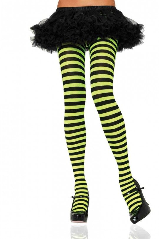 fed524eaf Black Neon Lime Stripe Tights