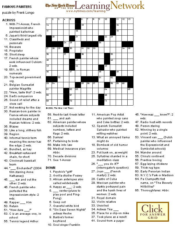image regarding New York Times Crossword Printable Free Sunday known as Crossword Puzzle: Well known Painters crosswords within just 2019
