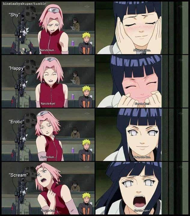 """Haha Poor Naruto Is Ignored Again By Sakura: Sakura VS Hinata Calling """"Naruto-kun"""" Haha ️ ️ ️"""