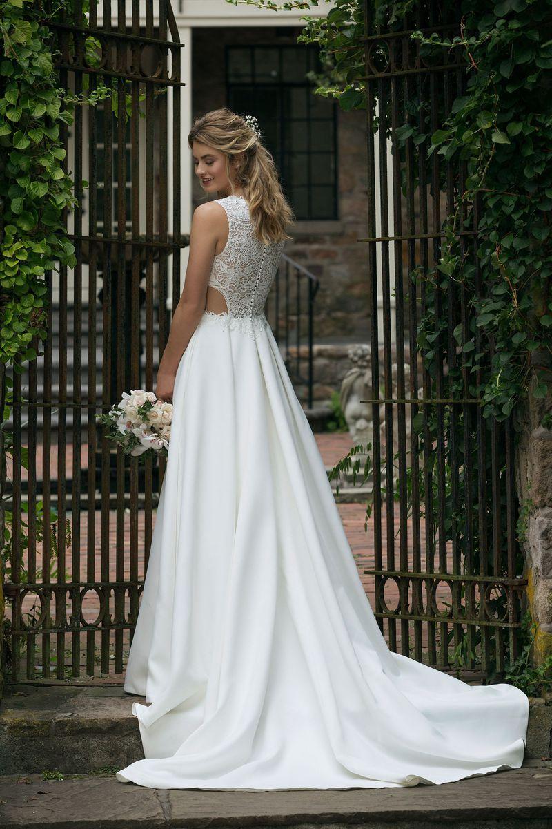 1873276786f53 Sincerity Bridal - Style 44044  Jewel Neckline Lace Bodice Satin Ball Gown