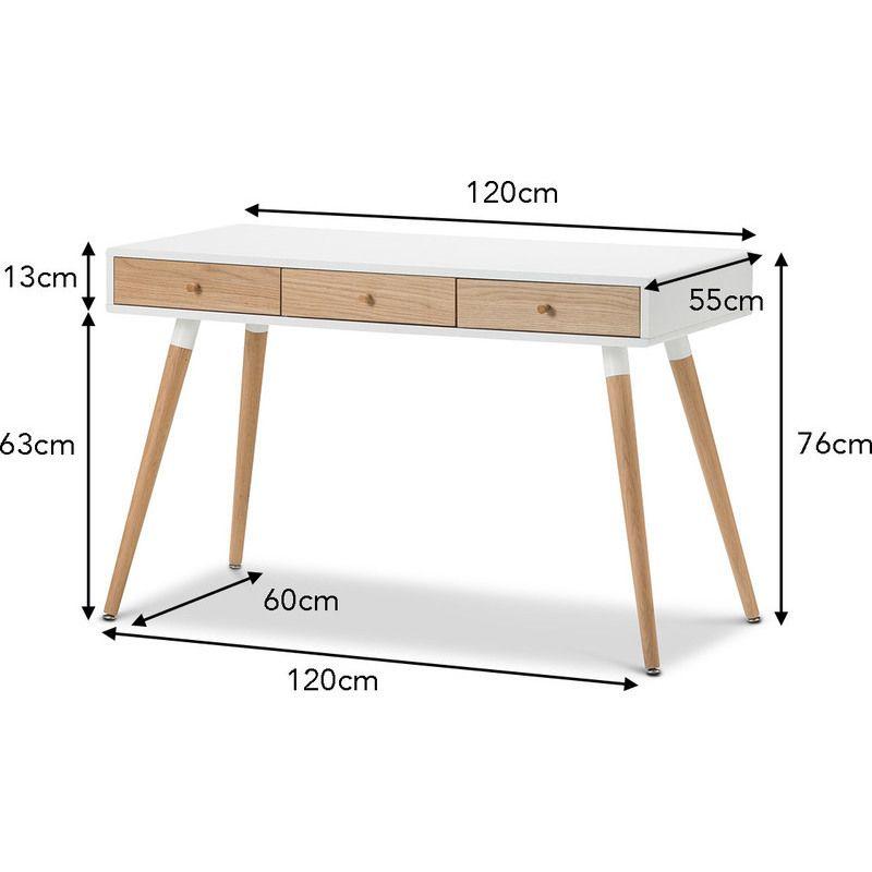 Scandinavian 3 Drawer Home Office Desk White 120cm Wood Office Desk Wooden Study Desk Desk Furniture