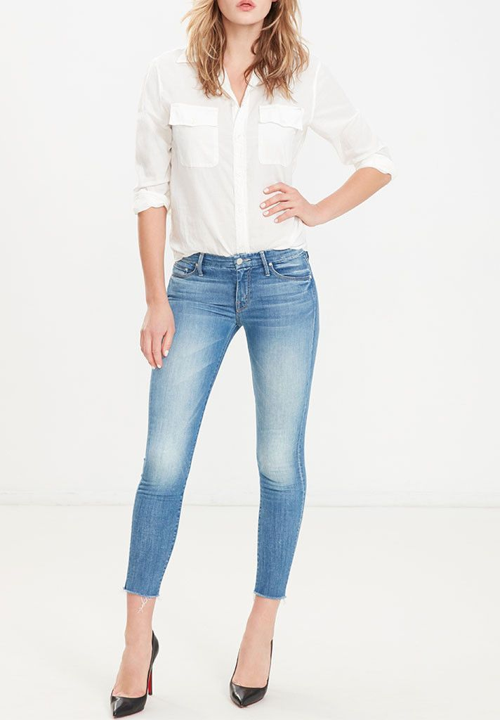 MOTHER DENIM LOOKER ANKLE FRAY BIRDS IN PARADISE