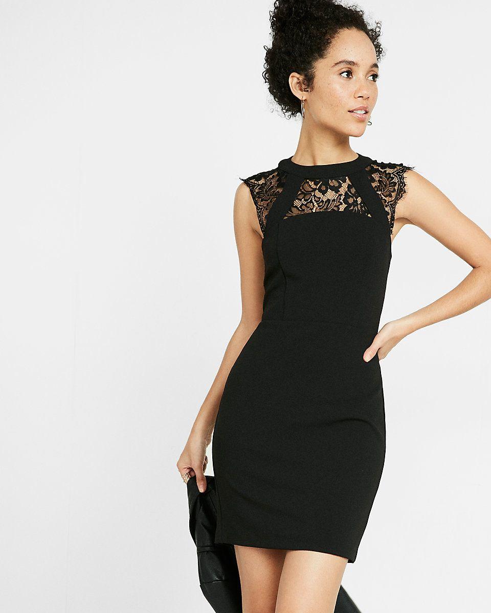 6a93c5d21be petite sleeveless lace yoke sheath dress