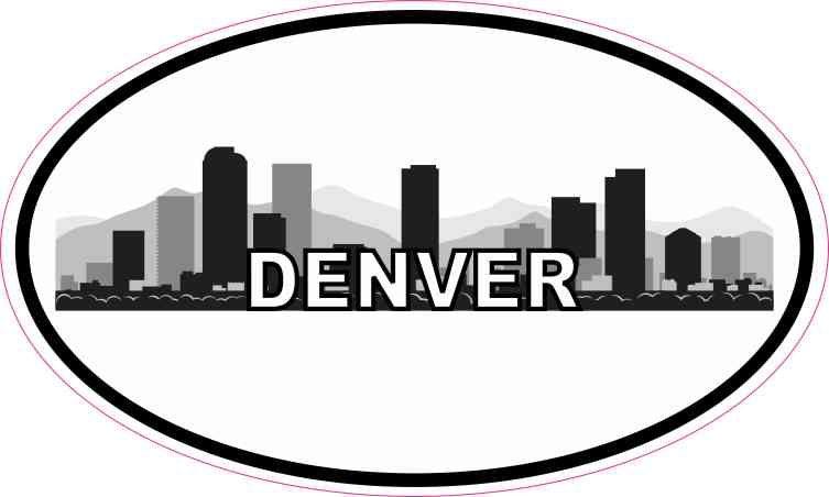 5in X 3in Oval Denver Skyline Sticker Vinyl Luggage Decal Car Cup Stickers Denver Skyline Sticker Design Vinyl Sticker