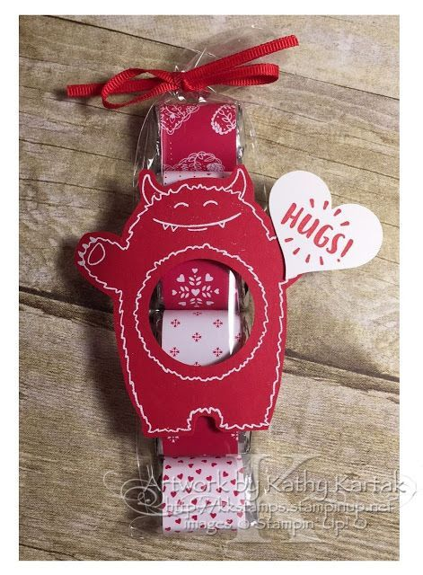 """Faithful INKspirations: A Monster Valentine--this quick and easy valentine treat is made with Stampin' Up's """"Yummy in My Tummy"""" stamp set."""