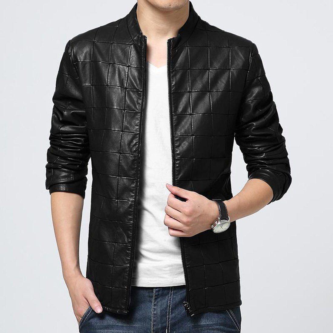 Men's Jacket PU Leather Plus Size Plaid for Autumn Men's