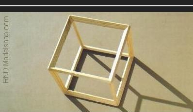 Hexahedron Cube Open Frame Wood Model