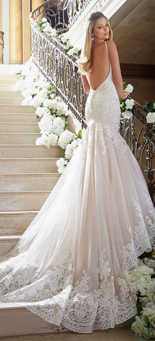 Spaghetti strap mermaid wedding dress  Elegant Tulle Spaghetti Straps Neckline Mermaid Wedding Dresses With