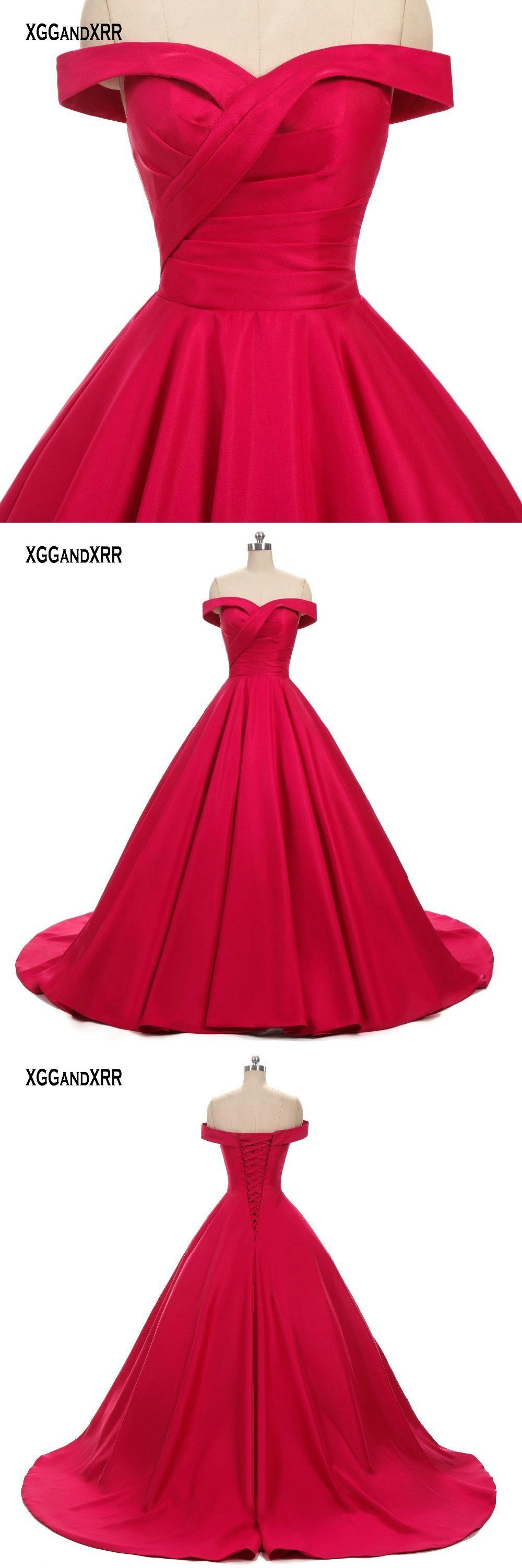Amazing red ball gown prom dress sweetheart off shoulder sexy