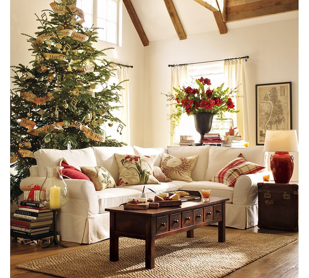 beautiful pottery barn christmas designs ideas pottery barn christmas design with white sofa