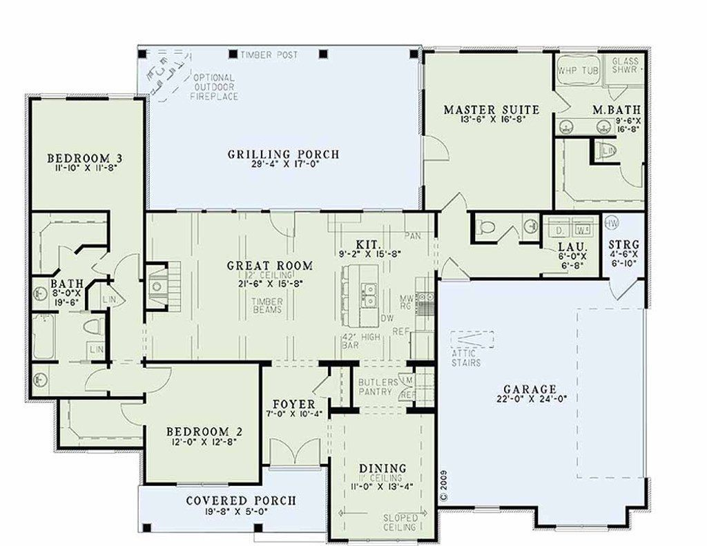 Ranch Style House Plans No Basement In 2020 Ranch House Plans Country House Plans Country Style House Plans